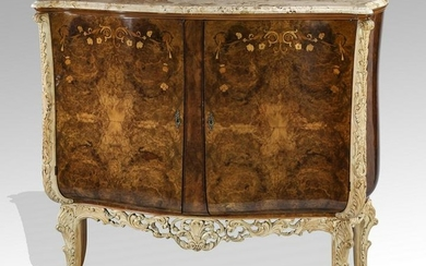 Italian burl and marquetry inlaid marble top buffet