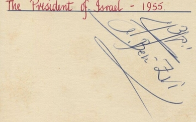 [JUDAICA]: ISRAELI PRESIDENTS: Small selection of a signed card and three signed photographs of various sizes by Presidents of Israel comprising Yitzhak Ben-Zvi (1952-57, 1957-62, 1962-63; signed card in both Hebrew and Latin script, with a collector's...