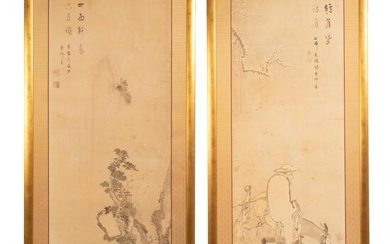 Japanese 18th Century Kano School Painting Panels
