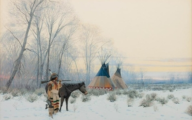 John Jarvis (American, b. 1946) Indian with Tipis, 1981