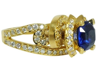 Kashmir Sapphire Diamond Ring High Setting 18K Yellow