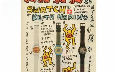 """Keith Haring """"Swatch Advertisement"""" print signed"""