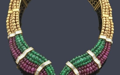 LUIS GIL Semi-rigid necklace with emeralds, rubies and