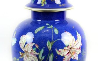 """Large vase with lid, Rosenthal porcelain, 1946, designed by Walter Mutze, decorated with gold and coloured decoration, with lilies, golden rain and winds on a blue sponge background, green stamp on the bottom, with the addition """"Orig. Entw. Mutze"""" and..."""