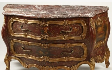 Louis XV Style Painted Parcel Gilt Bombe Commode.