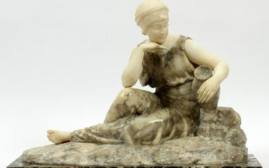 MARBLE 19TH C. RECLINING WOMAN WITH A WATER JAR