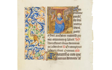 MINIATURE OF SAINT CLAUDE OF BESANÇON AND SAINT ANTHONY THE GREAT.