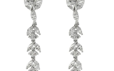 Marquise, Pear & Round Diamond Drop Earrings in