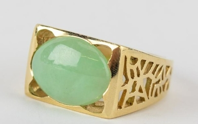 Men's 14k Gold Green Jade Cabochon Ring Size 9