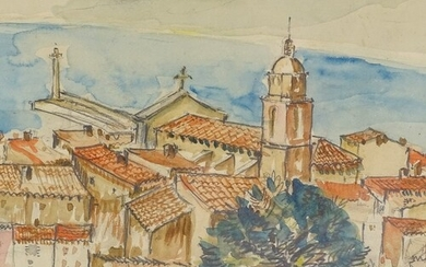 Mid-20th century watercolour, view over a Continental town, ...