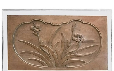 Mid-Century Modern Floral Caved Oak Relief Mounted on