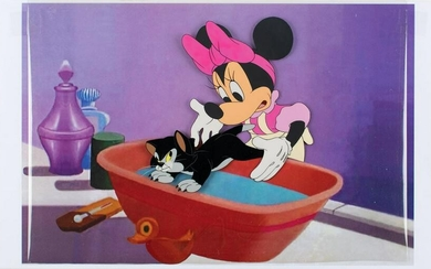 Minnie Mouse and Figaro production cel from Bath Day
