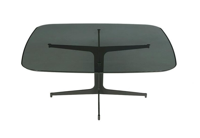 Modern Aluminum and Black Glass Coffee Table