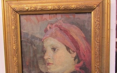 """NEWLYN SCHOOL, oil on canvas """"Portrait of Young Lady with re..."""