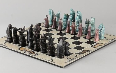 Natural stone chess set with ceramic chess board. South