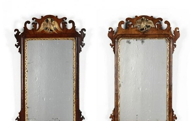 Near Pair of Chippendale Style Carved and Gilt Mahogany