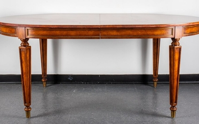 Neoclassical Style Oval Wood Dining Table