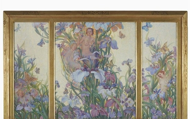 Nicola D'Ascenzo (American, 1871–1930) Floral screen (triptych) Signed bottom...