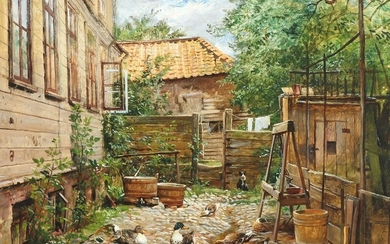 O. A. Hermansen: Scenery from a backyard with a cat and some ducks. Signed and dated with monogram 1896. Oil on canvas. 45.5×54 cm.
