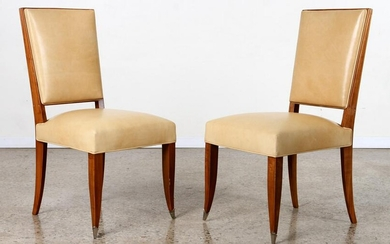 PAIR ANDRE ARBUS STYLE PEAR WOOD SIDE CHAIRS