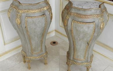 PAIR ANTIQUE ITALIAN BOMBAY END COMMODES