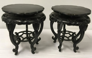 PAIR CHINESE QING DYNASTY CARVED WOOD PLANT STANDS