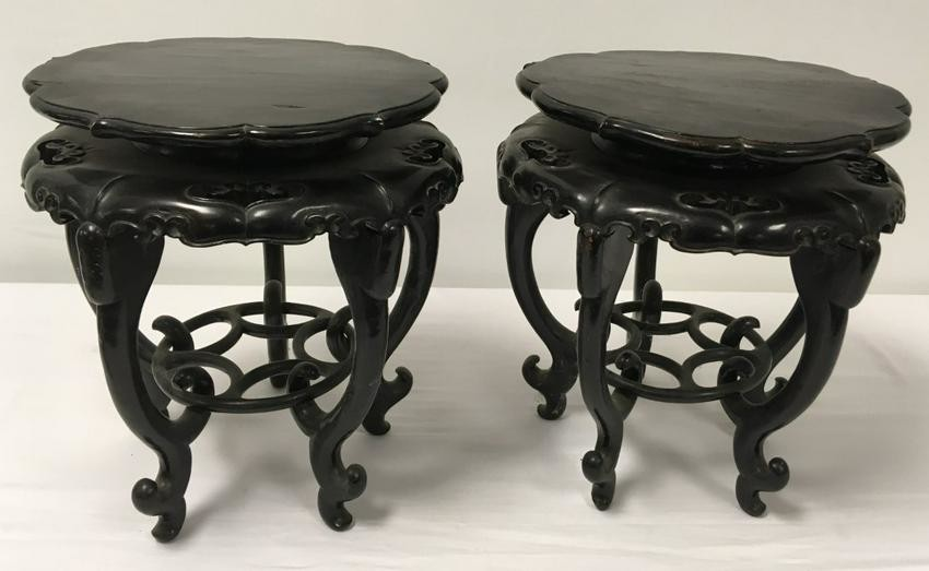 Lot Art Pair Chinese Qing Dynasty Carved Wood Plant Stands
