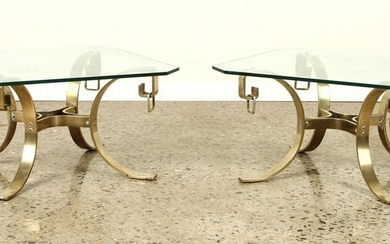 PAIR SOLID BRONZE END TABLES RING DECORATION 1960