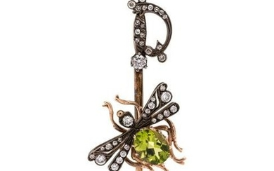 PERIDOT AND DIAMOND INSECT AND SABER BROOCH
