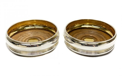 Pair Bvlgari Gilt Sterling Silver Bottle Wine Coasters