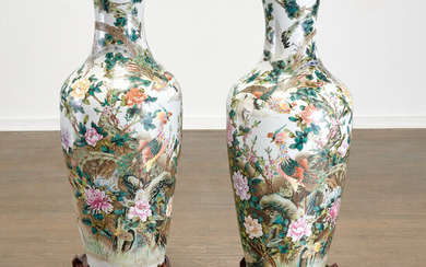 Pair Chinese famille verte porcelain palace vases