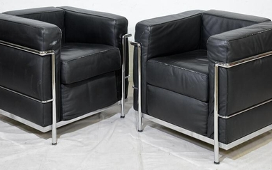 Pair Le Corbusier LC3 Style Lounge Chairs