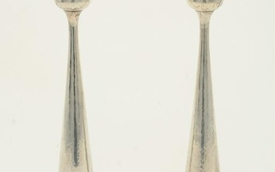 "Pair of 12"" sterling silver candlesticks by Kalo."
