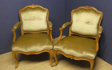 Pair of C19th French beechwood fauteuils covered in a stripe...