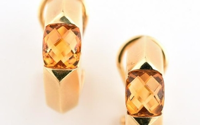 Pair of Citrine, Diamond, 18k Yellow Gold Earrings.