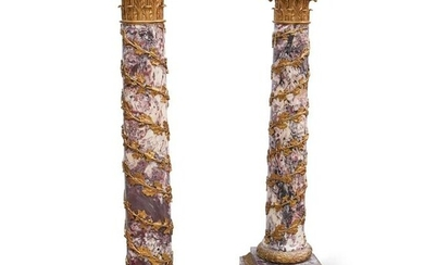 Pair of Red Marble Ormolu Mounted Pedestals