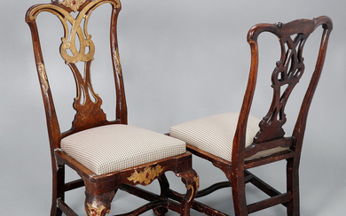 Pair of Spanish low chairs, probably Andalusian, Chippendale style, circa 1760.