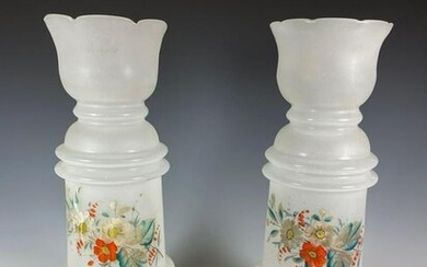 Pair of Victorian Opec Glass Cylinder Vases