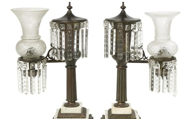 Pair of William IV Bronze and Glass Argand Lamps