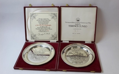 Pair of silver circular dishes for Victoria Jubilee after Cu...