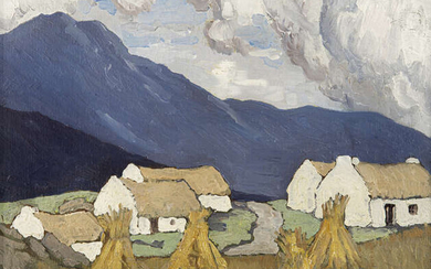 Paul Henry RHA (1877-1958), Hay Stooks with Cottages