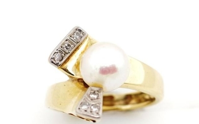 Pearl and diamond set 18ct yellow gold ring with diamond set...