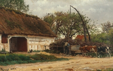 Peder Mønsted: Farmhouse exterior with a farmer feeding his cattle. Signed and dated P. Mønsted 1882. Oil on canvas. 28.5×46 cm.