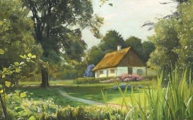 Peder Mønsted: Summer landscape with a thatched house at a stream. Signed and dated P. Mönsted, Vexebogaard 13–9-1922. Oil on canvas. 48×40 cm.