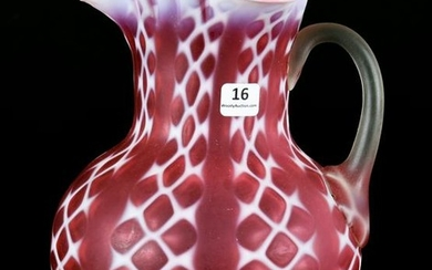 Pitcher, Consolidated Art Glass, Cranberry Opal