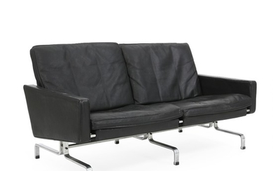 """Poul Kjærholm: """"PK-31/2"""". Two seater sofa with steel frame. Sides and cushions in seat and back upholstered with black leather. L. 138 cm."""