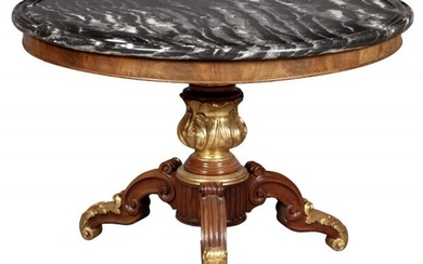 Restauration Style Marble Top Parcel Gilt Mahogany Center Table
