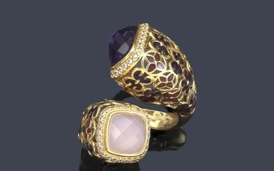 Ring with pink quartz and amethyst, diamonds and enamel