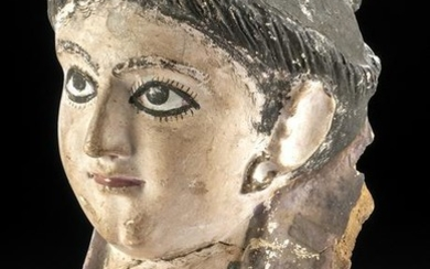 Romano-Egyptian Plaster Mummy Mask of Woman