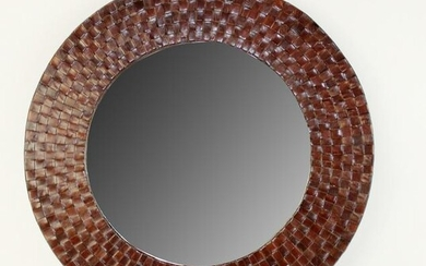 Round woven leather wall mirror